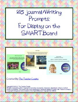 215 Journal/Writing Prompts for the SMARTBoard