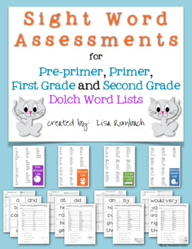 23 Sight Word Assessments (Dolch Lists) for Grades K-1