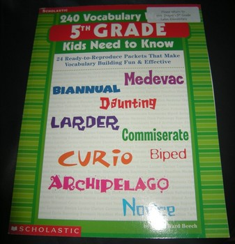 240 Vocabulary Words 5th Grade Kids Need to Know