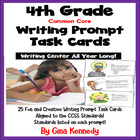 """25 Common Core 4th Grade """"Writing Prompt"""" Task Cards, Stan"""