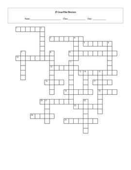 25 Great Film Directors Crossword with Key