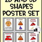 2D and 3D Cartoon Shapes Poster Set