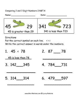 2.NBT.4 Comparing 3 Digit Numbers lesson with math station game