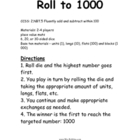 2.NBT.5 Roll to 1000 Math Station / Center Game
