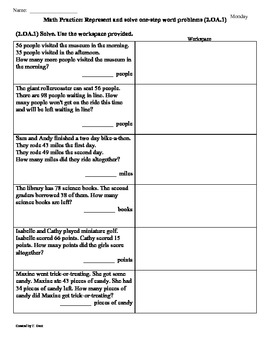 (2.OA.1)Word Problems [1 step] -2nd Grade  Math Worksheets