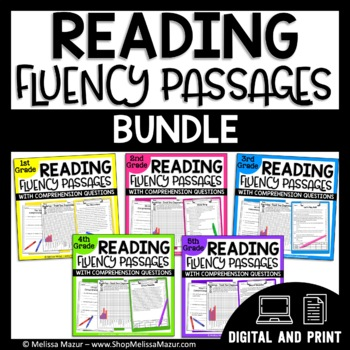 1st, 2nd, 3rd, 4th Grade BUNDLE - 90 Reading Fluency and Comprehension Passages
