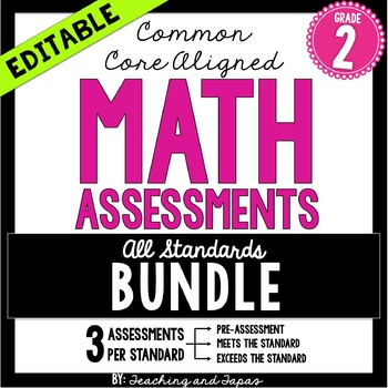 2nd Grade Common Core Math Assessment - ALL STANDARDS (3 tests/standard)