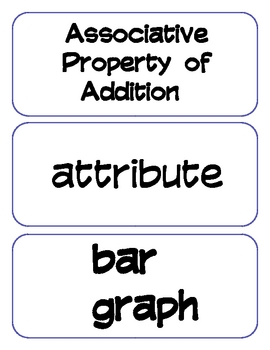 2nd Grade Common Core Math Vocabulary Cards