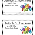 2nd Grade Everday Math: Unit 10- Decimals &Place Value Stu