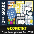 2nd Grade Geometry Math Partner Games: 8 games for 2D/3D s