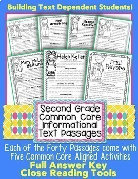 2nd Grade Informational Text Passages: Close Reading/ CCSS Assessment/ Homework