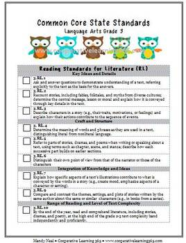 2nd Grade LA & Math Common Core Checklist Bundle (Owls)
