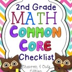 2nd Grade Math Common Core Checklist-Chevron & Owls Edition