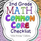 2nd Grade Math Common Core Checklist-Wild Prints Edition