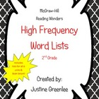 2nd Grade Reading Wonders High Frequency Word List