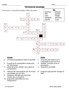 2nd Grade Technology Terminolgy Worksheet Spanish