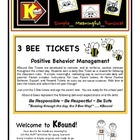 3 BEE  TICKETS Positive Behavior Management Support All Ye