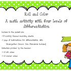 3 Dice Roll and Color a Differentiated Math Game