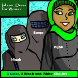 3 Piece Islam/Hijab Clip-Art (Color and B/W Lineart!)