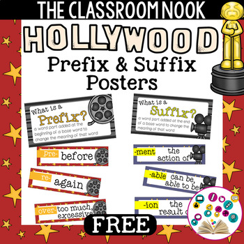 31 Prefix and Suffix Mini Posters with Definitions (Hollyw