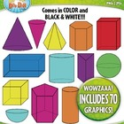 3D Colorful Shapes / Geometric Solids Clip Art — Includes