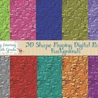 3D Shape Popping Digital Paper Backgrounds