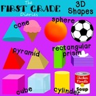 3D Shapes {Digital Clip Art} Cube Cone Cylinder Sphere Pyr