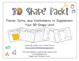 3D Shapes Pack!  Poster, Sorts, and Printable Worksheet!