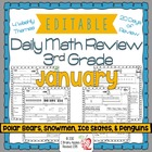 3rd Grade Common Core Daily Math Review/Morning Work- January