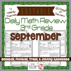 3rd Grade Common Core Daily Math Review/Morning Work- September