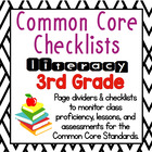 3rd Grade Common Core Literacy Checklists: Proficiency, Le