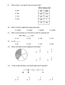3rd Grade Common Core Math Benchmark Test