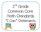 3rd Grade Common Core Math Standards - I Can Statements (O