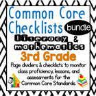 3rd Grade Common Core Math and Literacy Checklists