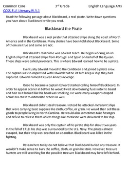 3rd Grade Common Core Reading Passage and Questions: Blackbeard