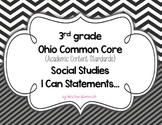 "3rd Grade Common Core Social Studies ""I CAN"" Statements for OHIO"