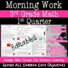 3rd Grade Daily Math Morning Work 1st Quarter Practice Com