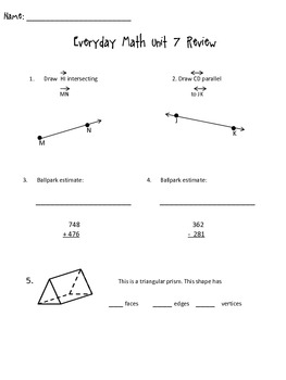 3rd Grade Everyday Math Unit 7 Review