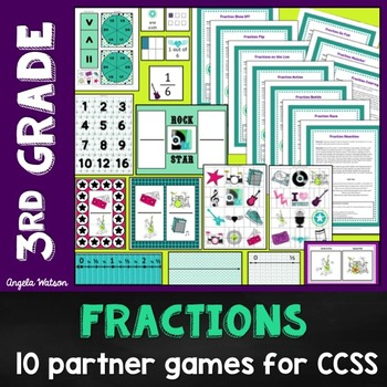 3rd Grade Fractions Math Partner Games:10 Games Designed f