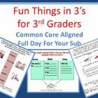3rd Grade Full Day Emergency Sub Plans/Threes Theme