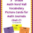 3rd Grade Math Vocabulary Picture Cards for Math Journals (Set C)