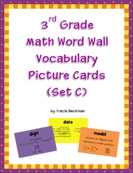 3rd Grade Math Word Wall Vocabulary Picture Cards (Set C)