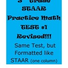 3rd Grade STAAR Practice Math Test #1 Revised (same test,
