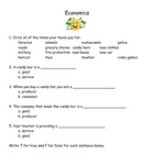 3rd Grade Social Studies Economics Worksheet &amp; Answer Key