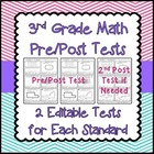 3rd Grade Standards Based Math Assessments with Pre and Po