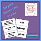 3rd grade Common Core Math Vocabulary and Word Wall Cards