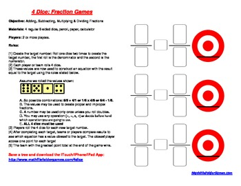 4 Dice: Fraction Games (Adding, Subtracting, Multiplying &