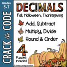 4 Fall-Themed Decimal Computation Practice- Crack the Codes!