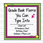 4 Grade Book Forms in MS Word - So you can type into them