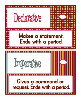 4 Kinds of Sentences File Folder Game